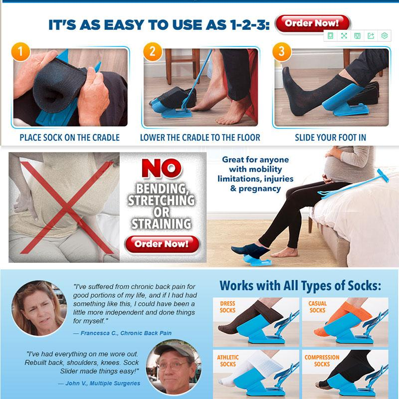1pc Blue Sock Slider  Easy Off Easy On Stress Reliever | Freaky Inventions