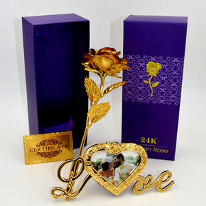 "Gold Foil Plated Rose with love stand frame ""The FOREVER ROSE"""