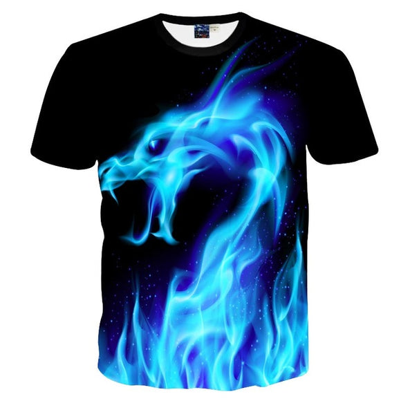 Men/Women 3D T-shirt Print Blue Fire Snake Short Sleeve