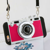 Fashionable Cool 3D Retro Camera Phone Cases For iPhone 7 6 6s Plus 5 5s SE Case High Quality Soft Silicone Back Cover With Lanyard