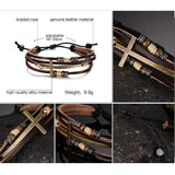 Christian Inspired Leather Cross Bracelets For Women and Men. Adjustable size Bohemia Rope Chain