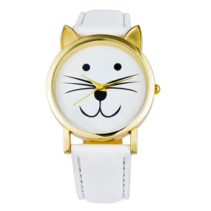 Cute Cat Face Casual Watches for Women & Girls. PU Leather Band