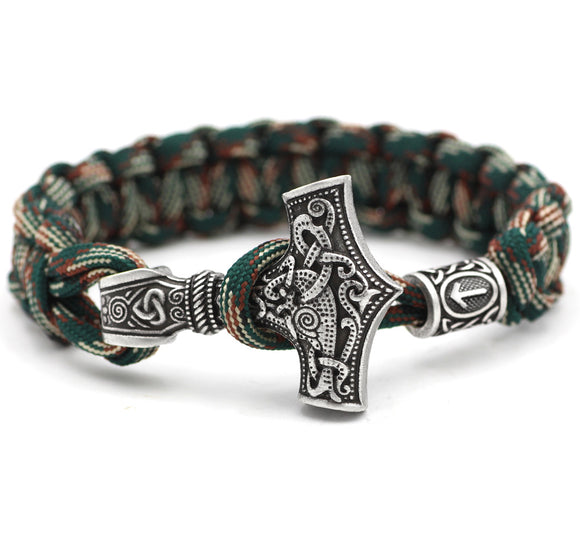 Norse Viking Thor Mjolnir Hammer Paracord Knot Amulet Scandinavian Bracelet Vantage Green and White