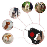 3 in 1 Retractable Dog Leash with LED Flashlight & Waste Bag Dispenser