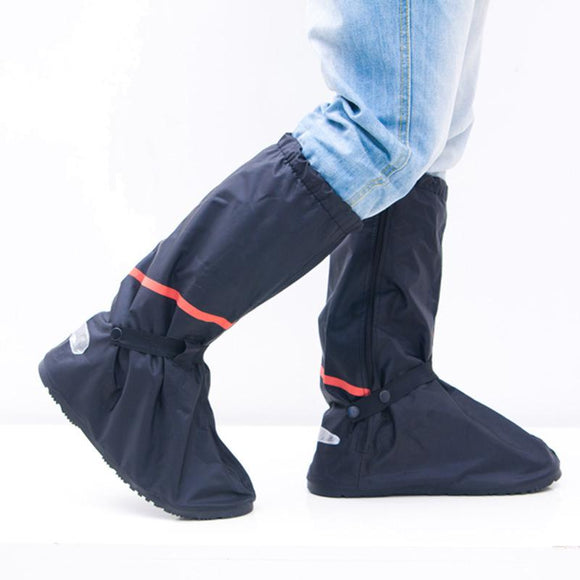Black Motorcycle Waterproof Rain Shoe Covers Thicker Non-slip Scooter Boots