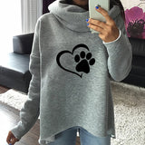 Heart Paw Cat or Dog Print Pattern Women's Hoodies with Scarf Collar Pullover