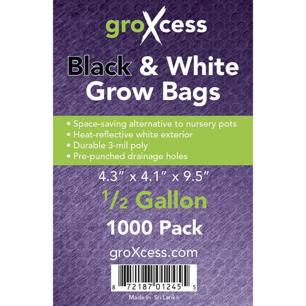 GroXcess Black & White Grow Bag, 1/2 Gal