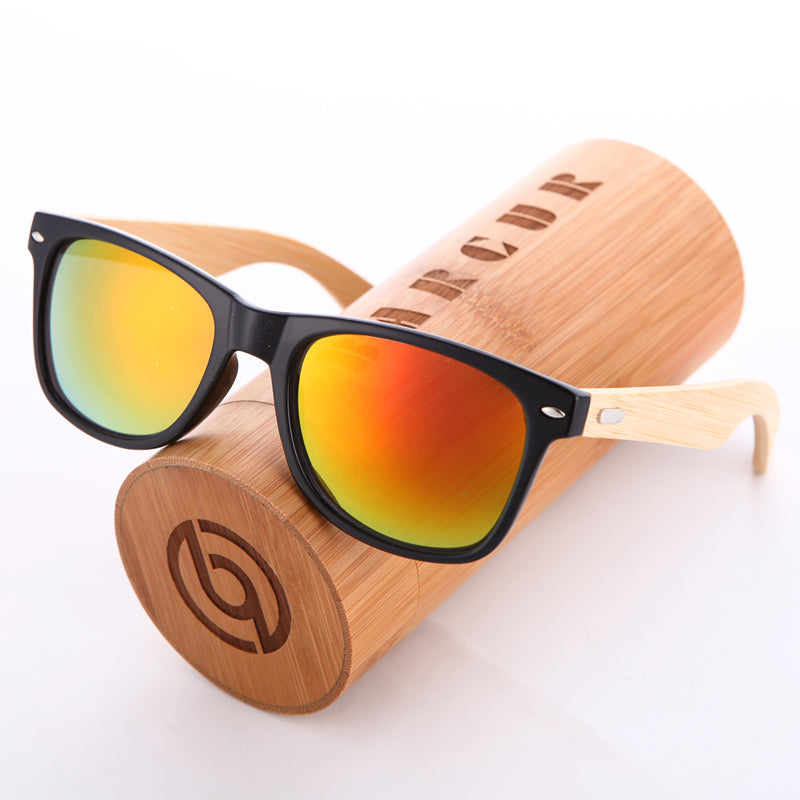 Retro Frame Wood Sunglasses