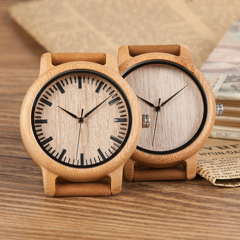Bamboo Wood Leather Strap Watch