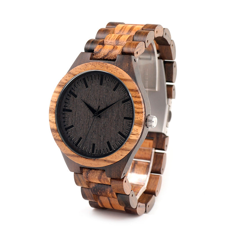Vintage Zebra Wood Strap Watch