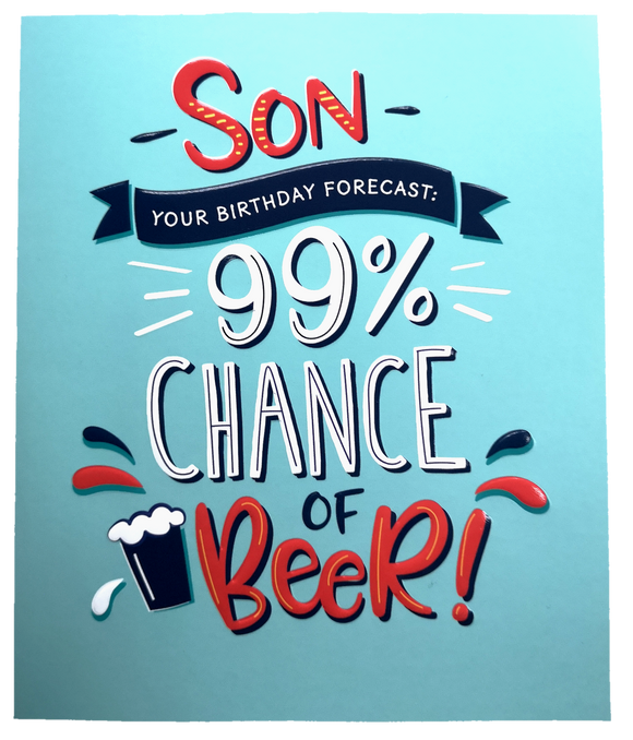 18cm - Son Your Birthday Forecast: 99% Chance Of Beer - ASD