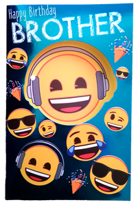 23cm - Happy Birthday Brother - Emojis - ASD