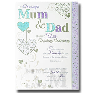 23cm - To A Wonderful Mum & Dad On Your Silver - P