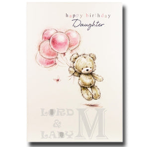 20cm - Happy Birthday Daughter - Bear Balloons -CW