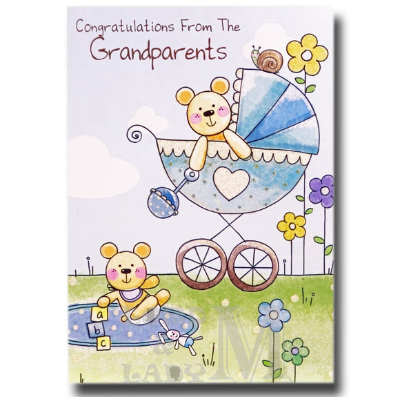 19cm - From The Grandparents - Pram & Teddy - P