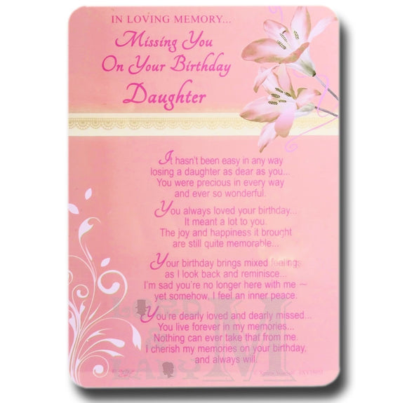 15cm - Missing You On Your Birthday Daughter - DGC
