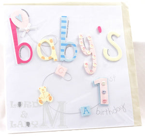 20cm Square - Baby's 1st Birthday - Lge Letter - H