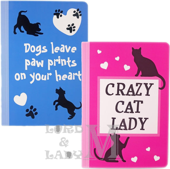 Cat And Dog Lovers A5 Notebook - Ideal Gifts - Various Designs Available