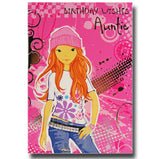 19cm - Birthday Wishes Auntie - Pink Card - E