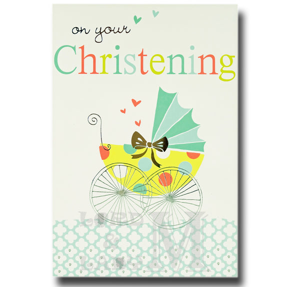 19cm - On Your Christening - Blue Yellow Pram - E