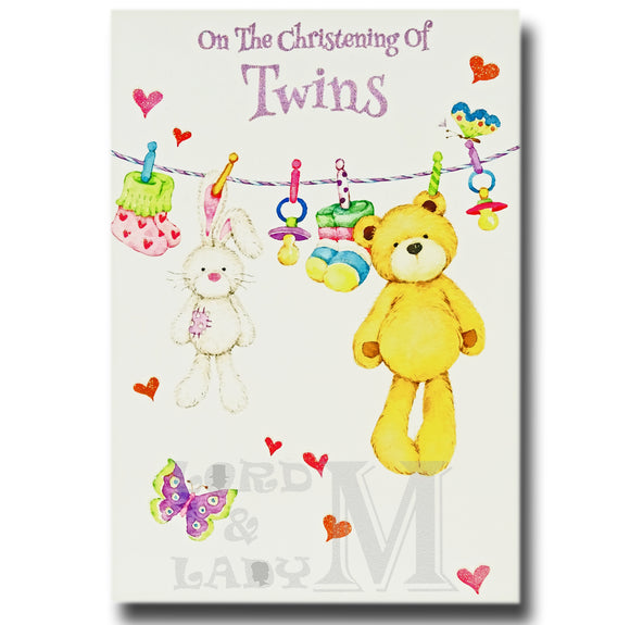 19cm - On The Christening Of Twins - Bunny Bear -E