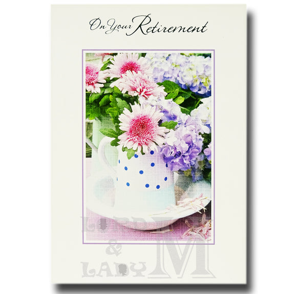 19cm - On Your Retirement - Flowers In Jug - E