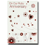 20cm - On Our Ruby Anniversary - Flowers Hearts -E