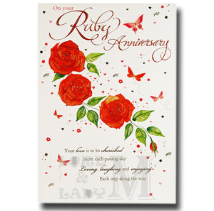 22cm - On Your Ruby Anniversary Your Love Is ..- E
