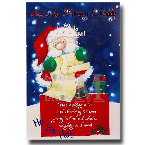 19cm - Warm Wishes Mummy & Daddy - Santa List -DGC