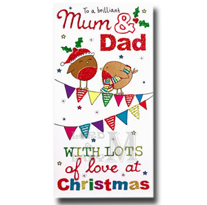 23cm - To A Brilliant Mum & Dad - Robins - OH