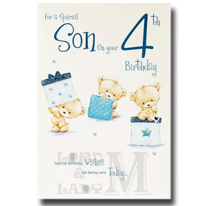 23cm - For A Special Son On Your 4th Birthday - E