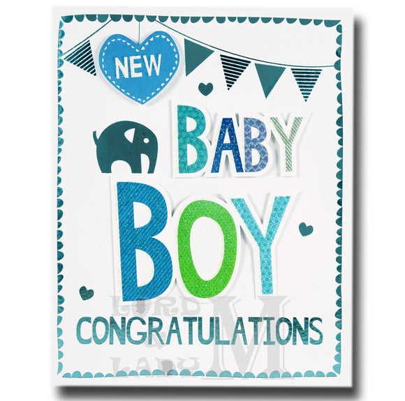 17cm - New Baby Boy Congratulations - Lge Let - RV