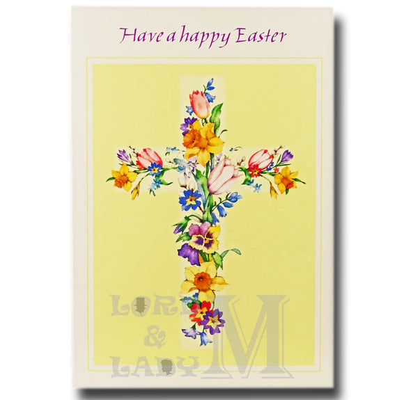 15cm - Have A Happy Easter - Cross Of Flowers - E