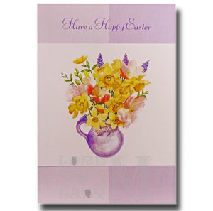 15cm - Have A Happy Easter - Flowers In A Vase - E