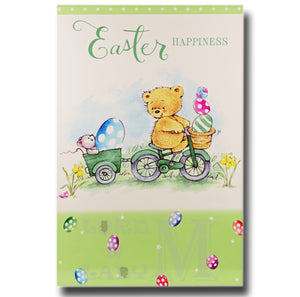19cm - Easter Happiness - Bear On Bike - E