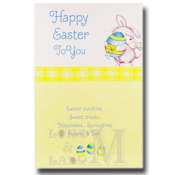 19cm - Happy Easter To You - Bunny With Egg - E