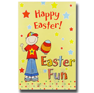 19cm - Happy Easter Easter Fun - Boy With Egg - E