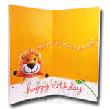 23cm - Happy Birthday 5 Today! - Knitted Lion - BG