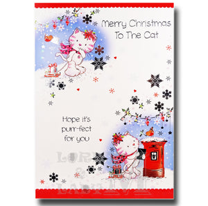 19cm - Merry Christmas To The Cat - Post Box - GH