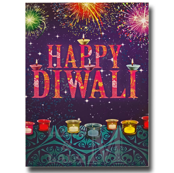 15cm - Happy Diwali - Candles Fireworks - GH