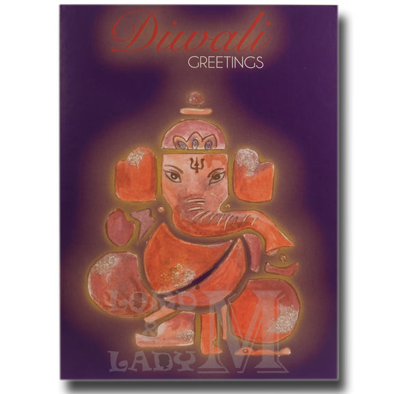 15cm - Diwali Greetings - Ganesha Puple Card - GH