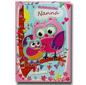 20cm - On Mother's Day, Nanna - Owls - GH