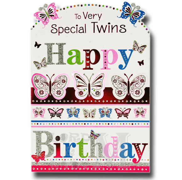 19cm - To Very Special Twins Happy Birthday - BGC