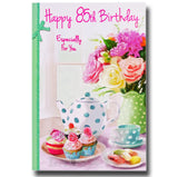 19cm - Happy 85th Birthday - Tea Pot Cakes - GH
