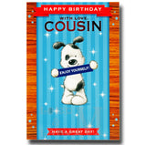 20cm - Happy Birthday With Love, Cousin - Dog - E