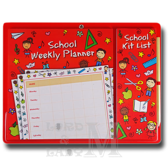 School Magnetic Weekly Planner And Kit List - Perfect Gift Idea