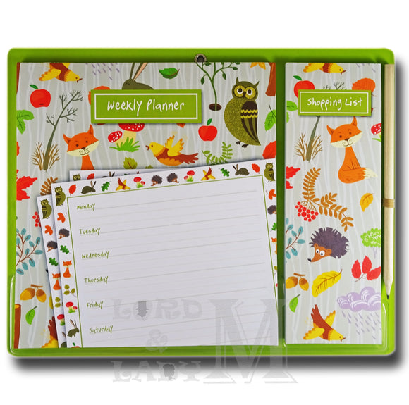 Woodland Magnetic Weekly Planner And Shopping List - Perfect Gift Idea