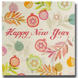 15cm Square - Happy New Year - Pomegranates - DV