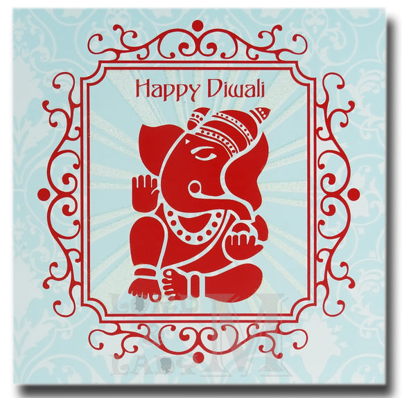 15cm - Happy Diwali - Square Ganesha Blue Red - DV