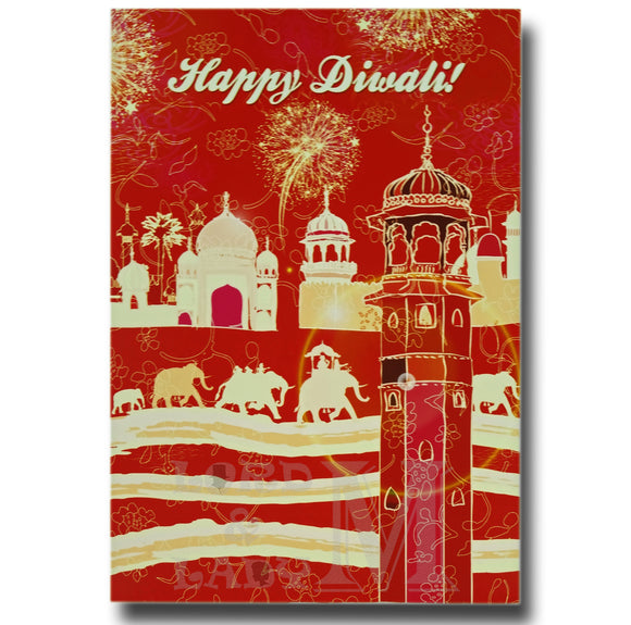 15cm - Happy Diwali - Red Elephants Fireworks - DV